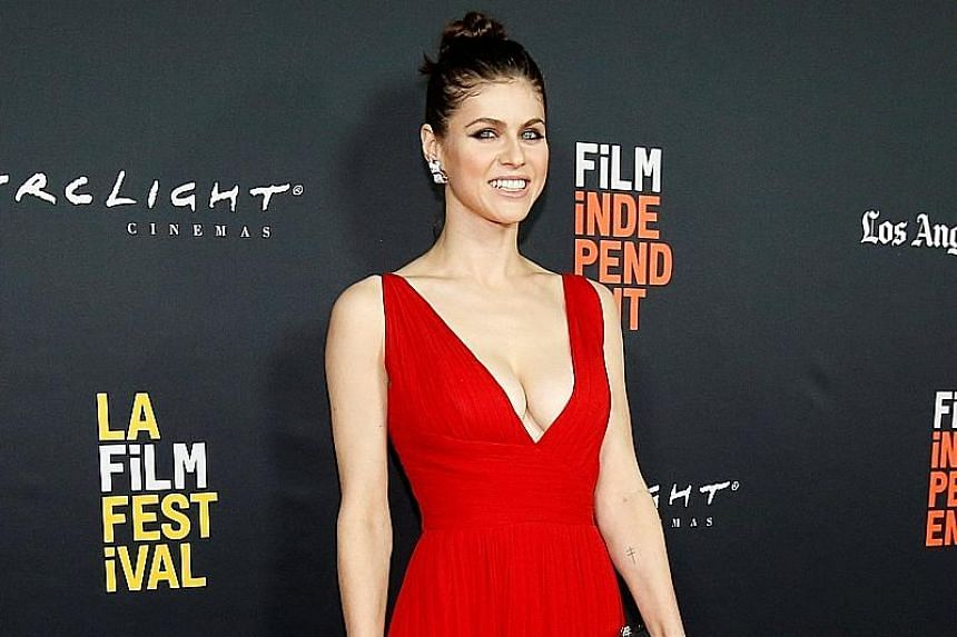 """Alexandra Daddario (left) plays a character who analyses a serial killer in the upcoming film, Nomis. She was a knockout when she appeared at the world premiere of the thriller over the weekend in Los Angeles. """"After Baywatch (2017), I was definitely"""