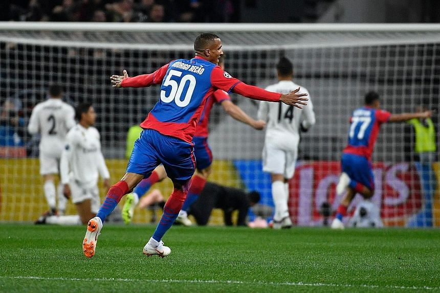 CSKA Moscow's Brazilian defender Rodrigo celebrating the opening goal scored by Croatian midfielder Nikola Vlasic during the Champions League Group G match against Real Madrid at the Luzhniki Stadium in Moscow on Tuesday.