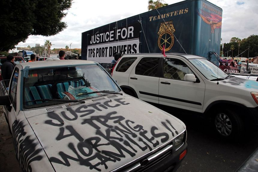 A protest in Los Angeles, California, in support of port truck drivers and others threatened by deportation if the courts or congress don't stop the termination of Temporary Protected Status (TPS).