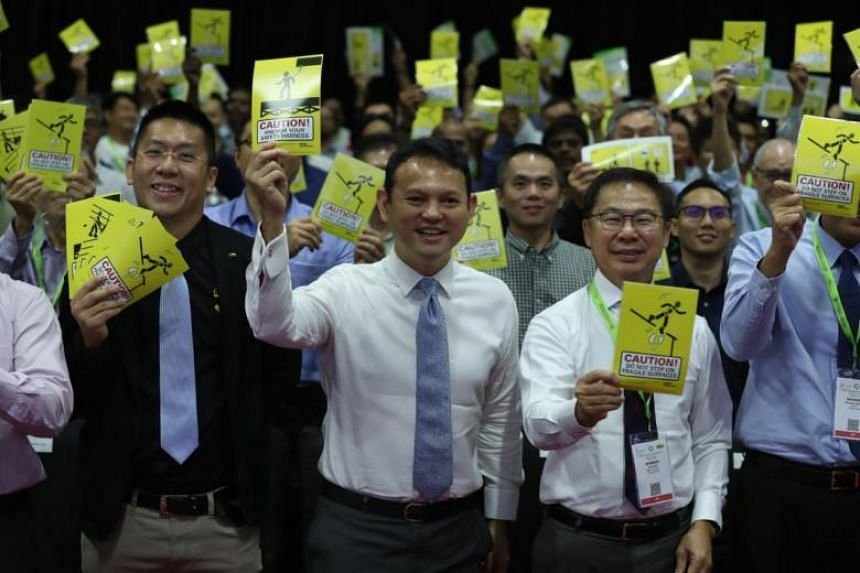 Minister of State for National Development and Manpower Zaqy Mohamad officiated the launch of the Target Zero Falls Campaign 2018 at Marina Bay Sands Convention Centre, on Oct 4, 2018.
