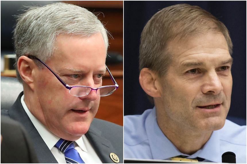 """Representatives Mark Meadows (left), a North Carolina Republican, and Mr Jim Jordan, an Ohio Republican called the closed-door meeting the """"most informative"""" interview they have had in the probe."""
