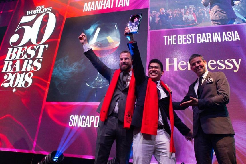 Singapore clinched the No. 3 spot on the World's 50 Best Bars list which was announced in London, on Oct 3, 2018. Members of Manhattan's team Philip Bischoff (left) and Gabriel Carlos (centre) were on hand to receive the award.