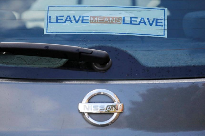 A pro-Brexit sticker is seen on a Nissan car in Manchester, Britain, on Oct 2, 2018.