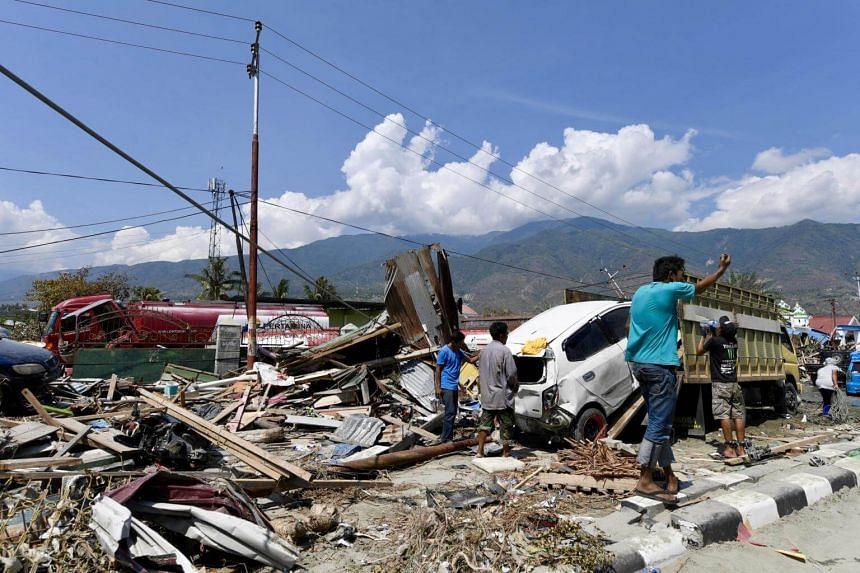 Devastation along the coastal area in Palu, Sulawesi, on Oct 3, 2018.