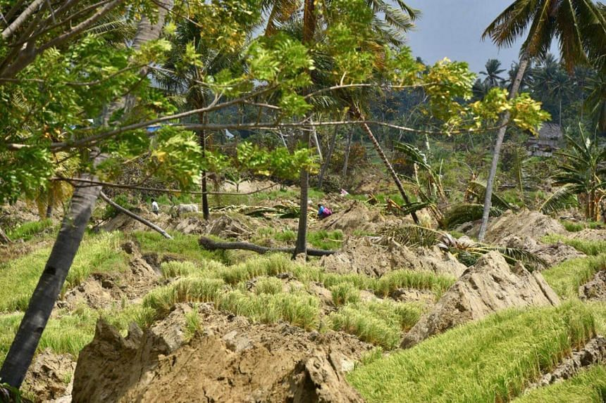 """The village of Petobo, which lies 10km from Palu, Sulawesi, is now known as the """"sunken village"""" after at least 700 houses were buried during the quake."""