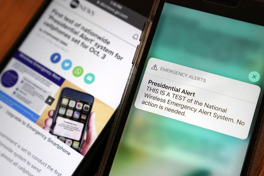 "Nearly 300 million US mobile phones received ""Presidential Alerts"" at 2.18pm on Oct 3, 2018."