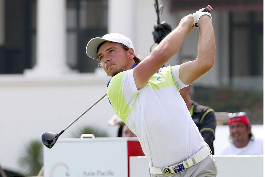 David Micheluzzi pitched in for eagle on the par-four, 390m 18th to seize sole possession of the lead on six-under 64.