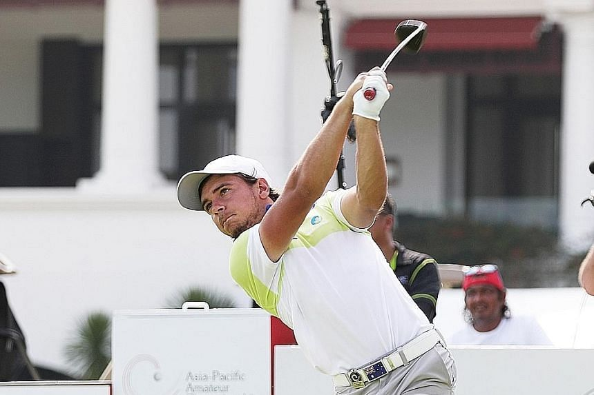 David Micheluzzi, on a tee shot, says he has been working on his pitching since last week. He leads Filipino Lloyd Jefferson Go, Jin Cheng of China and Chinese Taipei's Liu Yung-hua by a shot.