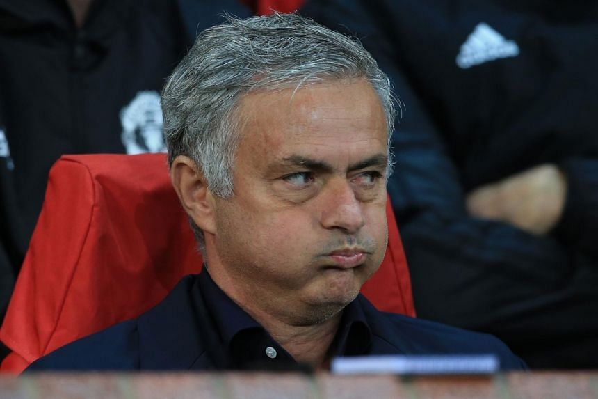 Manchester United's Jose Mourinho reacts ahead of the Champions League group H football match between Manchester United and Valencia in Manchester, England, on Oct 2, 2018.