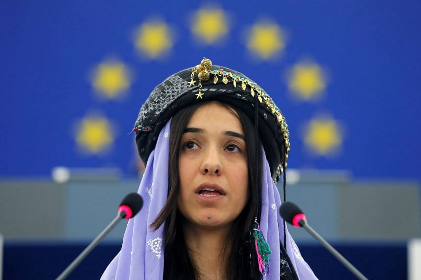 File photo of Nadia Murad Basee Taha during an award ceremony for the 2016 Sakharov Prize in Strasbourg, France, on Dec 13, 2016.