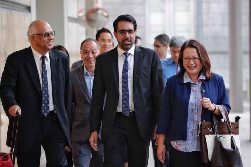 (From left) Lawyer Chelva Rajah, former Workers' Party chief Low Thia Khiang, WP chief Pritam Singh and WP chairman Sylvia Lim arriving at the Supreme Court on Oct 5, 2018.
