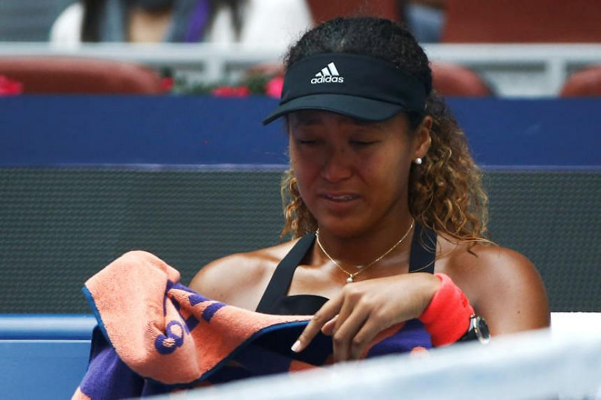 Naomi Osaka was broken on her first two service games and had tears in her eyes as the match threatened to slip away in the second set.