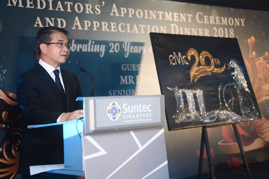 Senior Minister of State for Law and Health Edwin Tong at an appreciation dinner at Suntec City Convention Centre, on Oct 5, 2018.