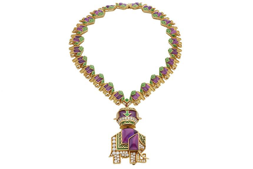 Necklace in gold with amethysts, diamonds and green enamel, 1971, from the Bvlgari Heritage Collection.