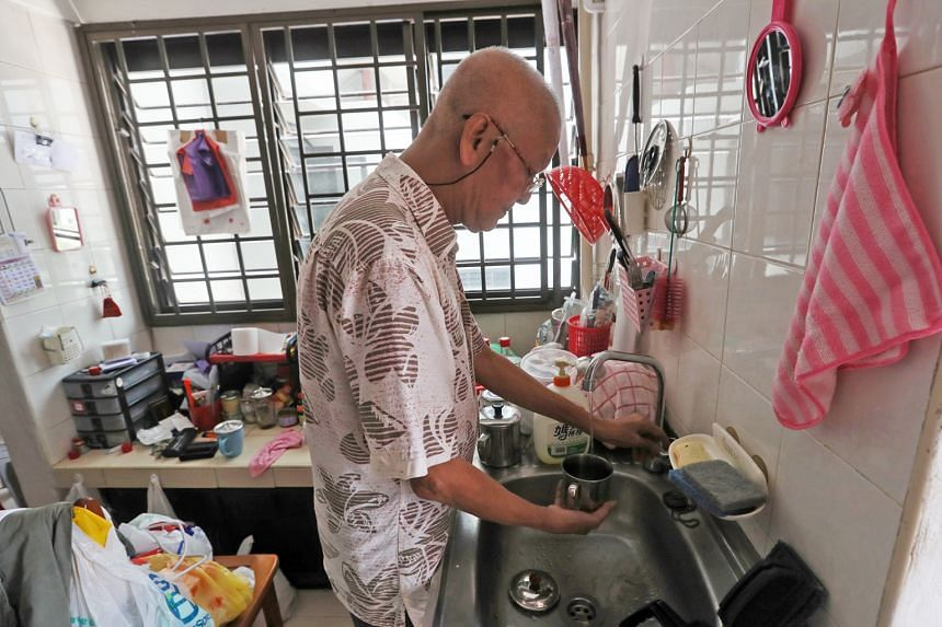 Mr Goh Hee Seng, 66, who lives in a one-room flat in Chin Swee Road, had his right foot amputated in 2016. He receives about $500 every month to pay for his rent and daily meals.