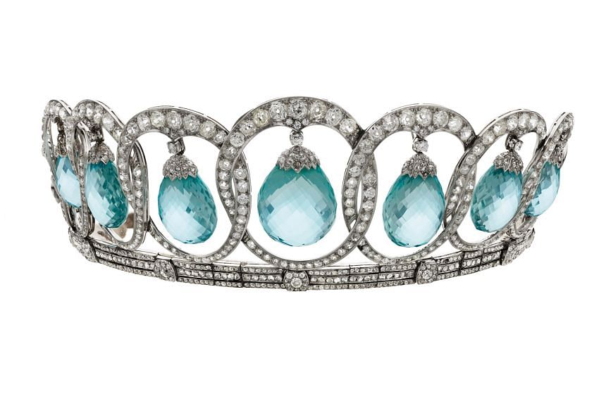 Tiara in platinum with aquamarines and diamonds, made in 1935, from the private collection of Italy's Princess Olimpia Torlonia.