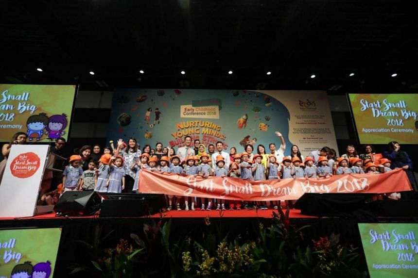 About 1,000 pre-school children at the Early Childhood Development Agency's Early Childhood Conference at Suntec City for a finale and appreciation ceremony on Oct 5, 2018.