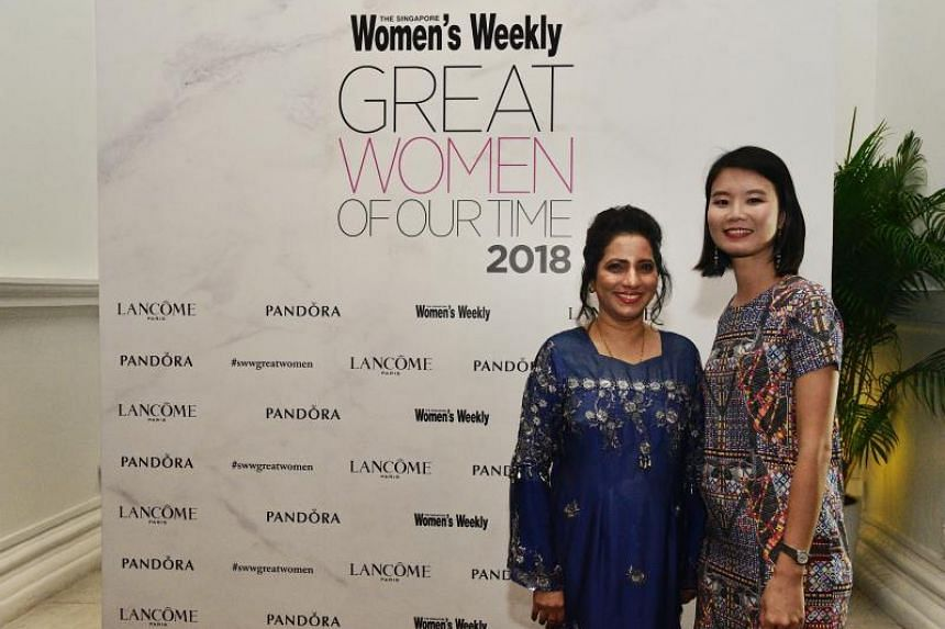 Mrs Rujia Ali Shahul Hameed Mohammed Feroz (left), a senior nurse manager at Tan Tock Seng Hospital and and Dr Sherry Aw, independent fellow at The Agency for Science, Technology and Research's Institute of Molecular and Cell Biology were winners at