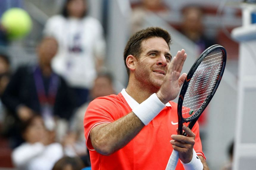 Del Potro reacts after winning the match against Filip Krajinovic of Serbia.