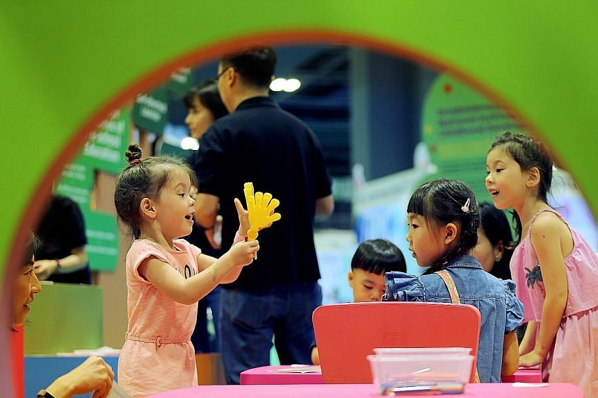 Pre-schoolers at the Suntec convention centre, where the Early Childhood Conference 2018 was held yesterday.