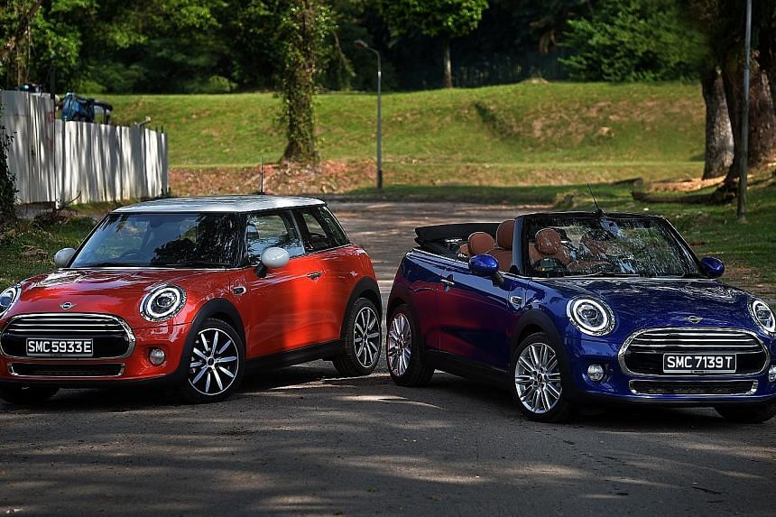 The Mini Cooper 3Dr and Convertible (right) come with a new seven-speed dual-clutch transmission controlled by a shift lever, which allows quick, fussless, stepless gear changes.
