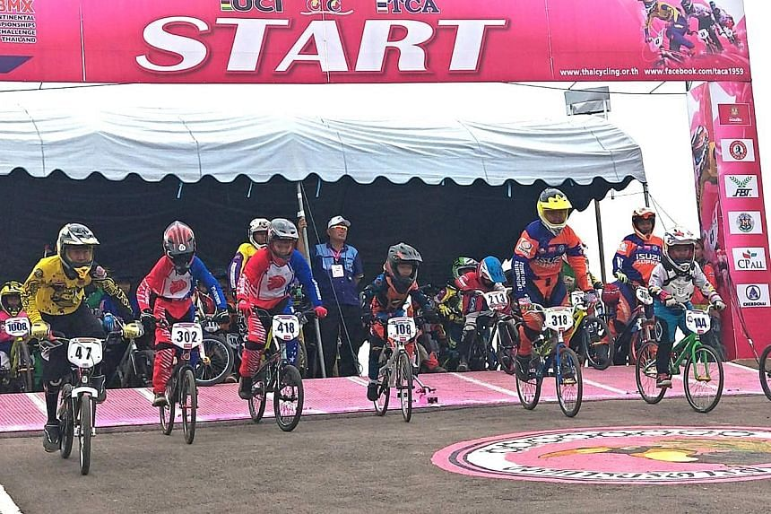 Singapore's BMX cyclists at the start point of the Asian BMX Championships in Thailand earlier this year. The Singapore Cycling Federation Academy, which will open at Turf City Centaurs next month, will introduce new riders to the discipline.