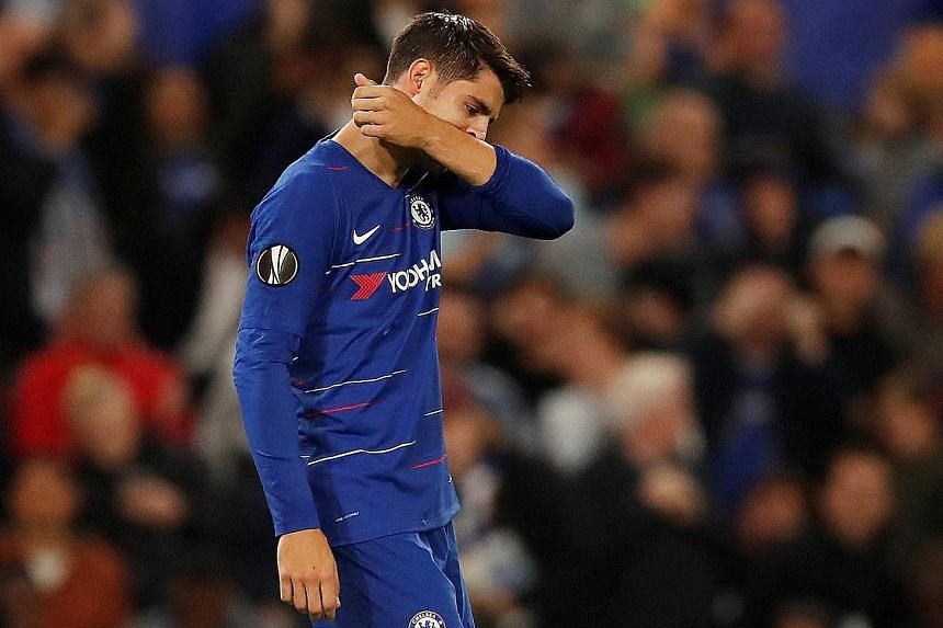 Chelsea striker Alvaro Morata (above) rueing a miss against Hungarian champions Vidi in the Europa League Group L match at Stamford Bridge on Thursday. But the Spaniard made amends in the 70th minute when he scored to give the Blues a 1-0 win.