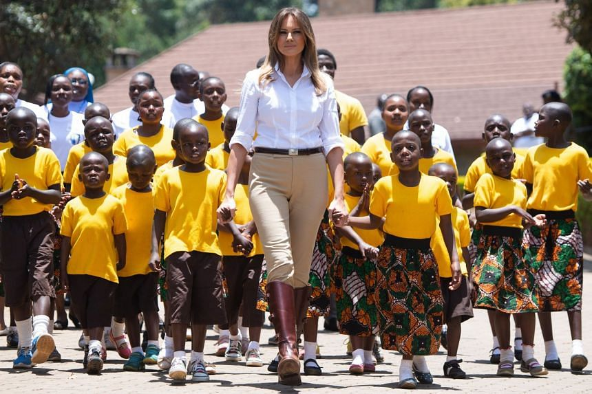 US First Lady Melania Trump visiting the Nest Childrens Home Orphanage in Nairobi on Oct 5, 2018.