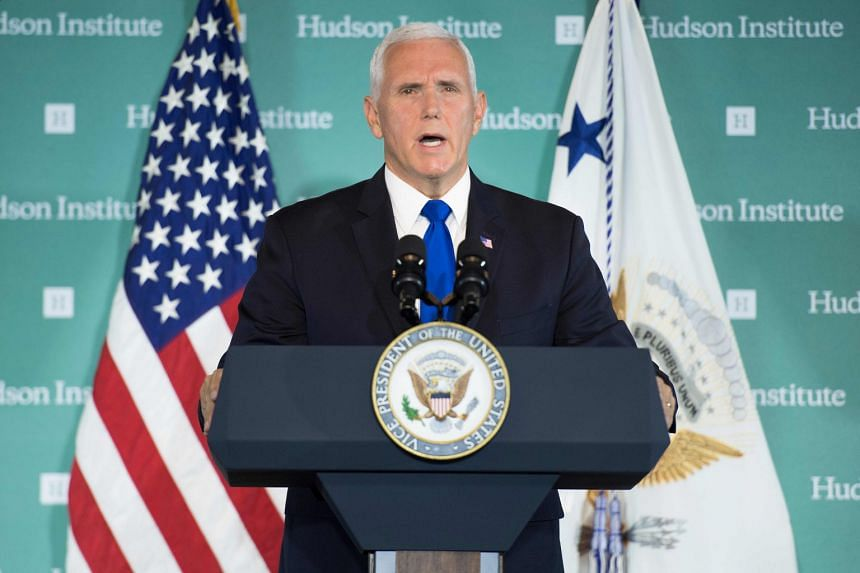 US Vice-President Mike Pence addresses the Hudson Institute on the administration's policy towards China in Washington, DC, on Oct 4, 2018.