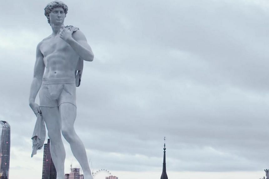 In the Samsung campaign, Michelangelo's David is reimagined as Domestic David in a pair of boxers, while Rodin's The Thinker becomes The Clean Thinker mulling over the wash cycle.