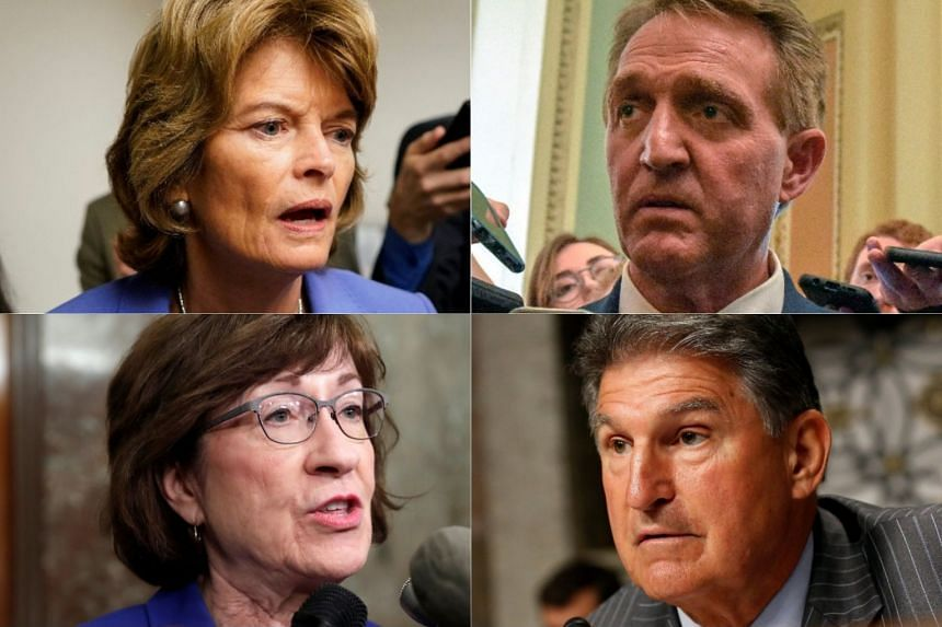 Senators (clockwise from top left) Lisa Murkowski, Jeff Flake, Joe Manchin and Susan Collins.