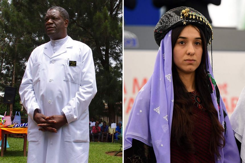 Dr Denis Mukwege, 63, heads the Panzi Hospital in the Congolese city of Bukavu, which receives thousands of women who are victims of sexual violence requiring surgery. Ms Nadia Murad, 25, is an advocate for the Yazidi minority in Iraq and for refugee