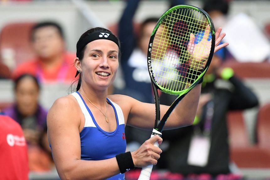 Sevastova celebrates after winning her women's semi-final match against Naomi Osaka of Japan.