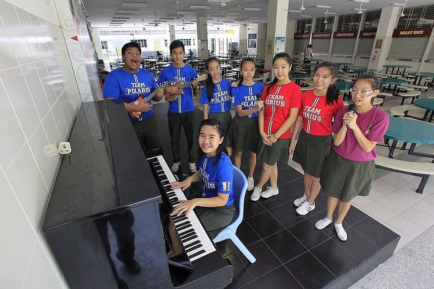 Above: Tampines Secondary School has attained niche status in creative expression, including performing and visual arts, and there are spaces in the school for students to showcase their skills, including in the canteen.