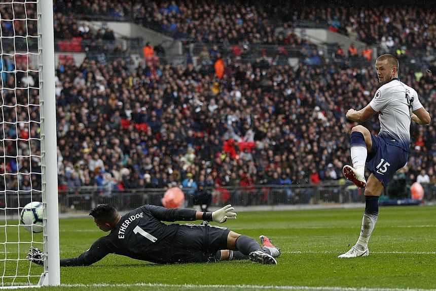 Tottenham's English defender Eric Dier scoring past Cardiff's Philippine goalkeeper Neil Etheridge for the only goal of the game at Wembley Stadium.