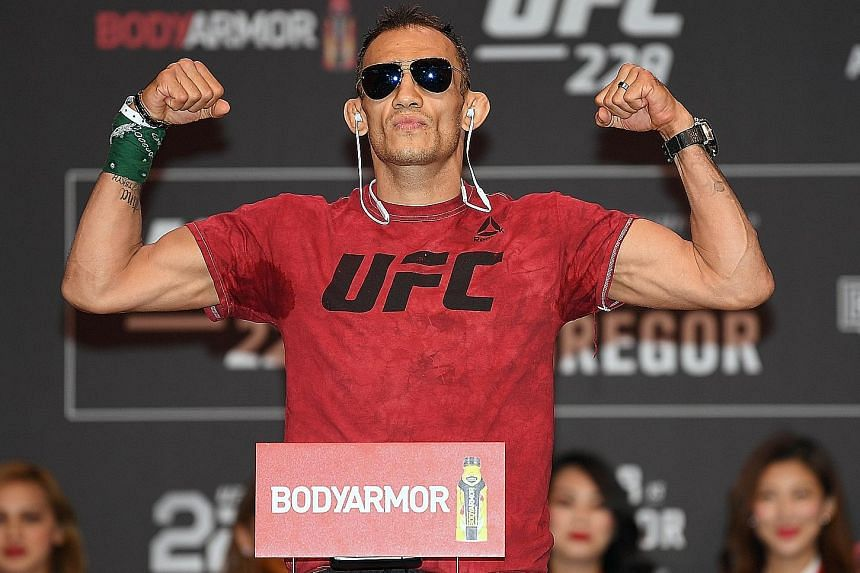 A confident Tony Ferguson during the weigh-in for UFC 229 at T-Mobile Arena in Las Vegas on Friday. He is going for his 11th straight victory.