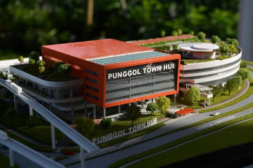 A model of Punggol Town Hub at the exhibition during the Punggol Town Hub Groundbreaking Ceremony and Children's Day Carnival 2018 at Punggol Town Square, on Oct 7, 2018.