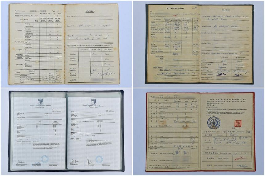 Clockwise from top left: The inside of a Delta West School pupil's report book, issued in 1968; the inside of a Jurong Town Primary School pupil's report book, issued in 1980; the inside of a Hsin Min School pupil's report book, issued in 1985,