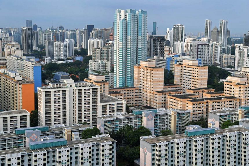 Housing board flats in the central part of Singapore.