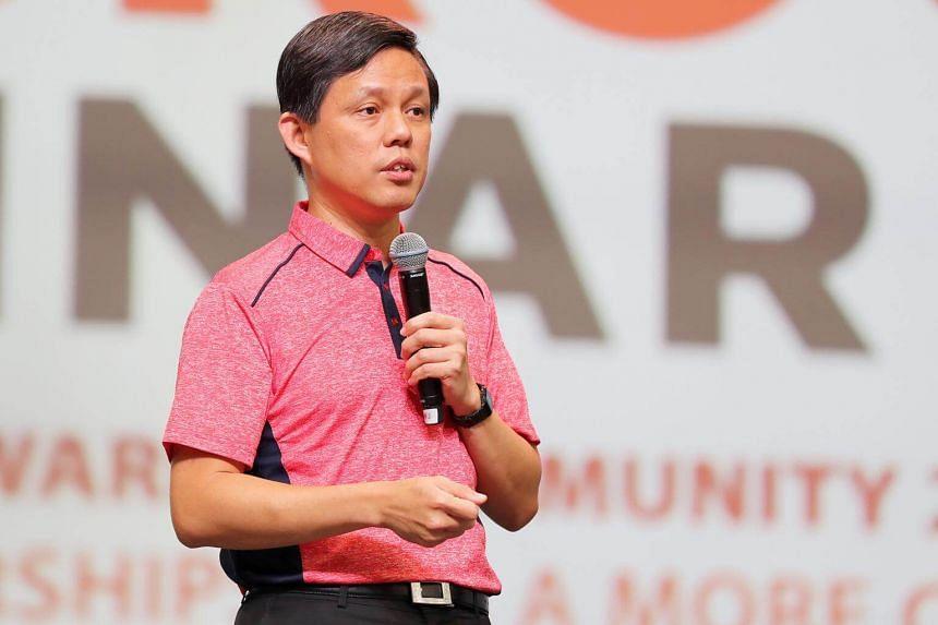 People's Association deputy chairman Chan Chun Sing speaking at the annual People's Association Grassroots Seminar at Singapore Expo, on Oct 6, 2018.