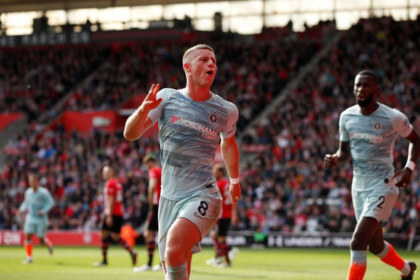 Chelsea's Ross Barkley celebrates scoring their second goal at St Mary's Stadium, Southampton, Britain, on Oct 7, 2018.