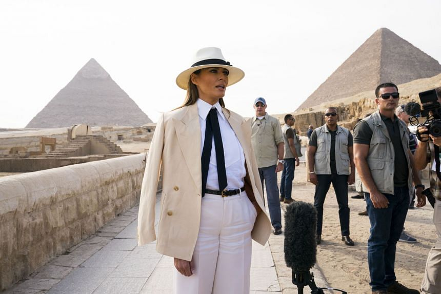 Melania Trump visits the Egyptian pyramids during her seven-day trip to Africa.