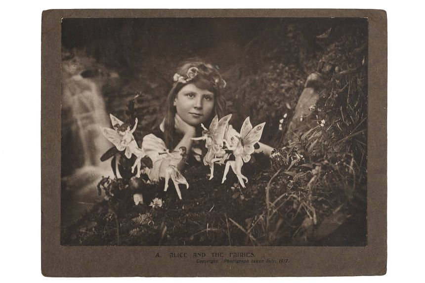 Alice And The Fairies was among the photos taken by cousins Elsie Wright and Frances Griffiths of themselves with paper cut-outs of dancing fairies and a gnome in the village of Cottingley in 1917. They claimed that the mythical beings were real, and