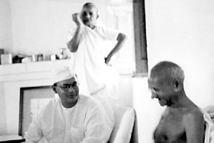 Mr Subhas Chandra Bose meeting Mahatma Gandhi, with the Indian independence leader's wife Kasturba Gandhi in the background, at Birla House in New Delhi in 1938.