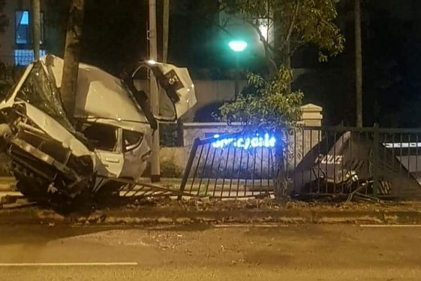 The Singapore Civil Defence Force said that a man who was trapped inside the vehicle was extricated using hydraulic tools.