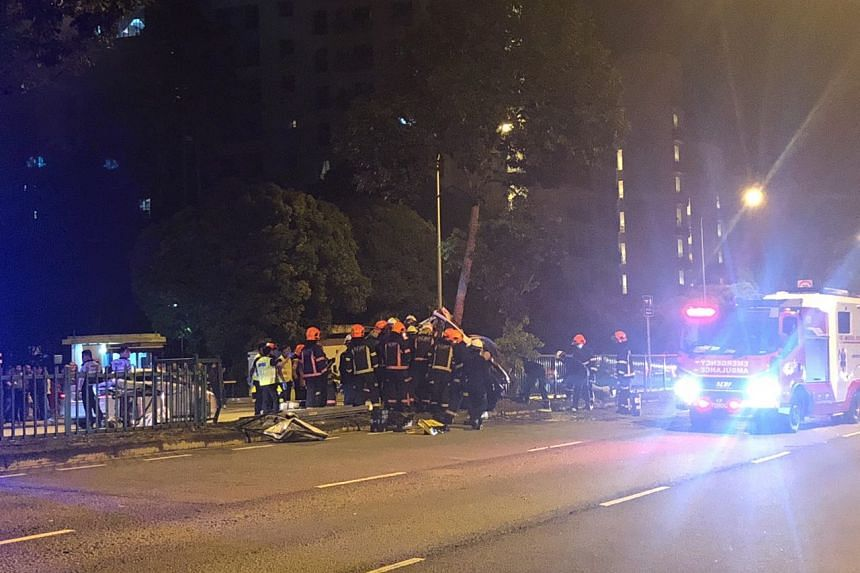 More than a dozen SCDF officers were seen at the accident site.