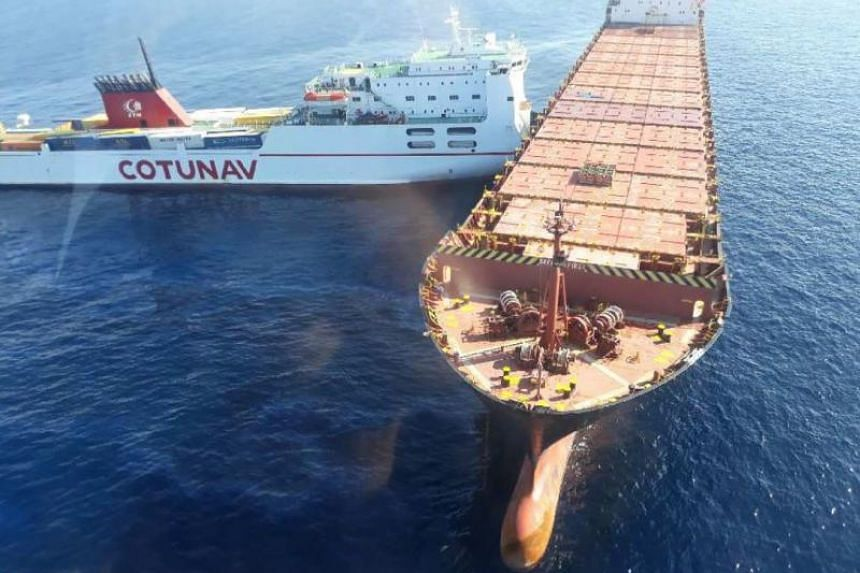 A roll-on/roll-off ferry (left) and a container ship collided off the northwest coast of Cape Corsica on Oct 7, 2018.
