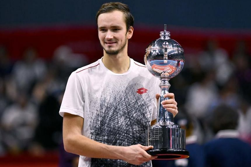 Daniil Medvedev (pictured) punched well above his world ranking of 32 and overpowered third seed Kei Nishikori in a one-sided Tokyo final.