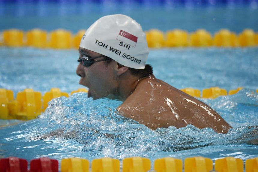 File photo showing Singapore swimmer Toh Wei Soong competing at the 2015 Asean Para Games.