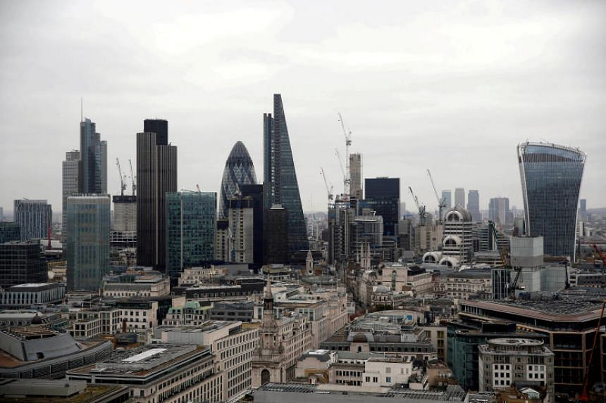 A view of the London financial district, seen from St Paul's Cathedral in London, Britain, on Feb 25, 2017.